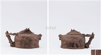 mountain shaped teapot with landscape shaped knob by xu weiming