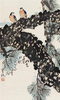 松枝双鸟 by jia baomin