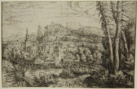 view on a city near a river from landscapes by hans sebald lautensack