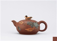 teapot with duck shaped knob and lotus pond by sang libing