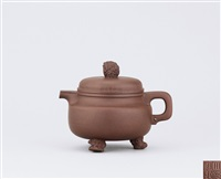 teapot with bufonid shaped knob and feet by xu sihai