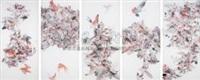 飞鸟相与还(五联) 中国画 (birds) (in 5 parts) by tu shaohui