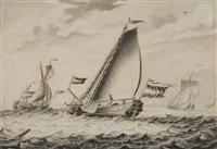 fischerboote bei starkem wind aus dem hafen auslaufend (+ fischerboot in den hafen einlaufend; pair) by adriaen van salm