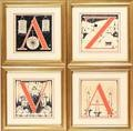 four initials for de populieren fluisteren (4 works) by anton pieck