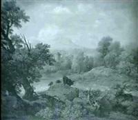 italiserande landskap med herdar vaktande boskap by johann samuel hoetzendorf