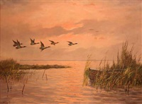 stockenten fliegen über einen see bei abendrot by helmuth gerth