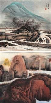 山涧幽关 春山匹练 (2 works) by qi enjin