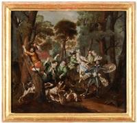 don quijote stellt sich einem eber, als er das herzogliche paar auf einer jagd begleitet. sancho pansa erklimmt vor schreck eine eiche by anna barbara abesch