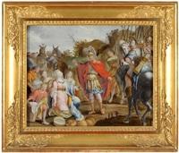 david und sein gefolge treffen auf abigail, die demütig auf ihre knie gefallen ist by anna barbara abesch