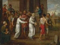 ein greiser mann wird gefesselt von römern abgeführt by huber