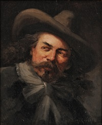 portrait of a man, possibly buffalo bill cody by henry raschen
