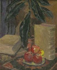 stillleben mit obst, pflanze und folianten by hermann konnerth