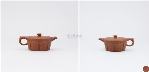 monks cap patterned teapot with inscriptions on cover by wen jia and li maolin
