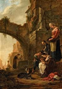 italienische ruinenlandschaft mit torbogen by thomas wijck