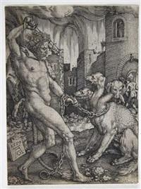 herkules und zerberus by heinrich aldegrever