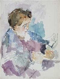 sitzende frau lesend (+ bäume am abhang, 1931; 2 works) by imre reiner