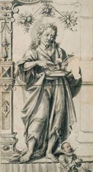 umkreis des scheibenriss mit darstellung johannes des täufers und stifterportrait by daniel lindtmayer the younger