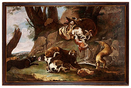 jaktmotiv med stridande hundar och björn by carl borromaus andreas ruthart