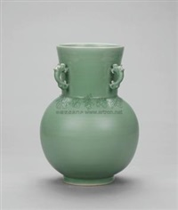 龙年吉祥 梅子青釉瓷瓶 (auspicious dragon year, plum-green glaze porcelain vase) by xu dingchang