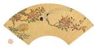 海棠寿带鸟 (flower and bird) by zhou zhimian