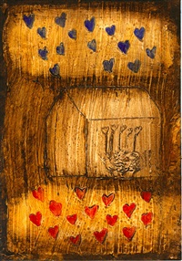 house with blue and red hearts by connie lloveras