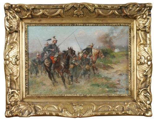 französische kavallerie mit deutschen gefangenen im krieg by louis raoul arus
