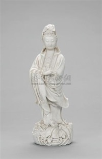 观音  (godness of mercy, porcelain sculpture of dehua kiln) by xu xingtai