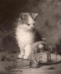 kitten with ladle and covered cheese by renault