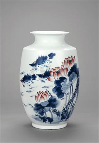 连年有余 青花五彩瓷瓶 harvest blue and white polychrome porcelain vase by liu shengju