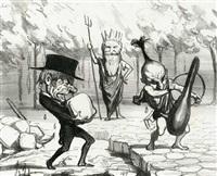 sammlung von 54 bl. (3 doppelt vorh.) aus verschiedenen karikaturfolgen. meist mit berufsbezogenen darstellungen (54 works) by honoré daumier