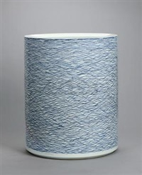 线释水 青花 (line water, blue and white porcelain vat) by bai ming