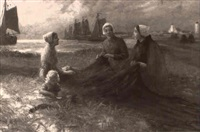 women repairing the nets by eugene muler