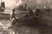 women repairing the nets by eugene muler
