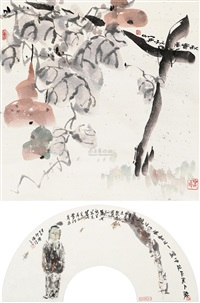 思乡 (+ 秋实图, ink and color on paper, lrgr; 2 works) by jiang ye
