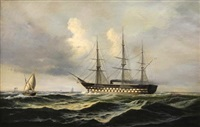 a full-rigged ship under steam on the sea with other shipping by i. andersen