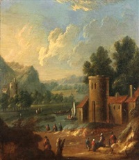 figures by a tower with small boats on a river beyond by mathys balen