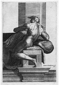 sitzender jüngling, nach links gewandt (after michelangelo) by cherubino alberti