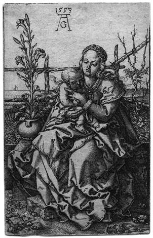 die jungfrau mit dem kind auf der rasenbank by heinrich aldegrever
