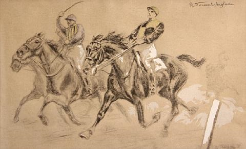 the home stretch trotting as if his life depended on it pair by henri vincent anglade