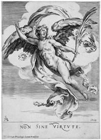 auf wolken schwebender engel mit einem palmenzweig - non sine virtute by cherubino alberti