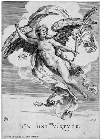 auf wolken schwebender engel mit einem palmenzweig non sine virtute by cherubino alberti