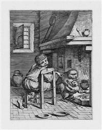 allegorische darstellung mit einem knaben, auf einen affen weisend, der eine katze zwingt, die gebratenen kastanien aus dem kamin zu holen by pietro francesco alberti