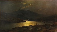 a moonlit lake surrounded by mountains with two figures in the foreground by georgiy zakharovich bashinzhagyan