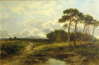 a pastoral landscape with two figures by a pond by carl brennir
