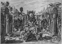 bühnenbilder zu den intermedien der oper la pellegrina (4 works after bernard buontalenti) by epifanio d' alfiano