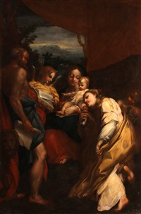 madonna and child with saints jerome and mary magdalen (the day) by correggio