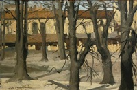 trees in winter; houses in snow (pair) by ernesto alcide campestrini