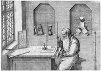 wenzel jamnitzer, goldschmied und mathematiker, an seinem zeichentisch by jost amman