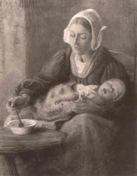 woman and her child by wally (walburga wilhelmina) moes