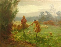 shepherds and their flock in a meadow by william cave day